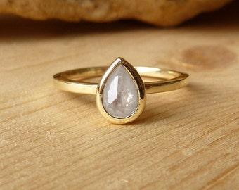 White Rose Cut Pear Diamond Ring - deposit