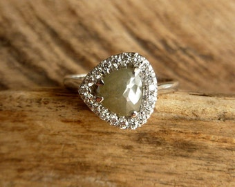 Rose Cut Pear and Diamond Halo Ring