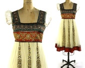 Embroidered Indian Dress / Handmade Vintage Ethnic Semi Formal Princess Dress with Heavy Embroidery & Rhinestones