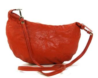 80s Leather Mini Bag / Vintage 1980s Red Leather Crescent Moon Purse with Skinny Shoulder Strap / Boho Rocker Minimalist Handmade Purse