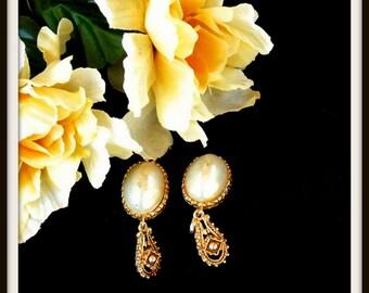 Earrings, Clip On Earrings, Vintage Florenza Gold Clip On Earrings, Gift For Her, Christmas Gift