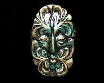 Greenman Spirit Face Cab Metallic Gold & Green on Black Polymer Clay