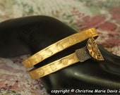 SALE Gold smashed KNITTING needle bangle bracelet w/ sprials and button tips for the BOHO gypsy girl