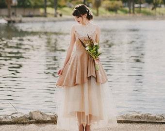 Bulle wedding dress, size 6 in dusty pink, customizable
