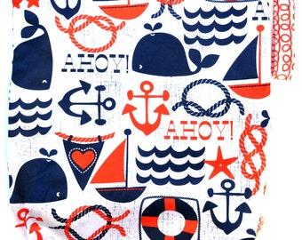 Large 14 x 16 x 4 Wet Bag / Ahoy Matey Nautical Fabric  / Perfect for Diapers / Gym / Swim / SEALED SEAMS and Snap Strap