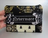 Nevermore - Zippered Pouch - Damask - Black - Yellow - Zippered Case - Gothic - Dark - Spider - Potion - purple - white