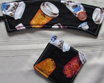 Coffee Cup Sleeve with Matching Coaster Insulated Batting