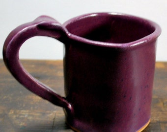 Square Purple Mug with Thumb Rest Wheel Thrown Clay Pottery Ready To Ship