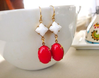 Vintage Style Earrings, Red White Gold, Dangle Earrings, Gold Earrings