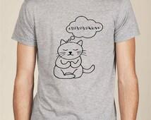 Om Meow meditation yoga cat t-shirt men unisex tshirt tee kitty ohm meditate