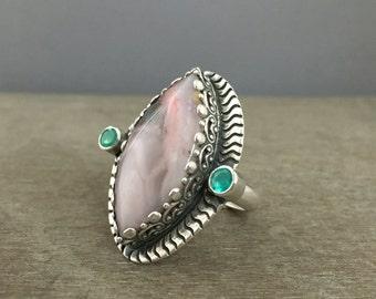 Peruvian opal ring - size 8 ring - large stone ring - pink stone ring - opal jewelry - Etheopian opal ring - large ring - statement ring