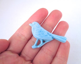 Blue vintage style bird cabochons, cute resin sparrow cabs