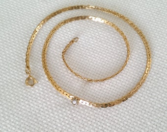 Vintage Gold  Necklace With Diamond Accent