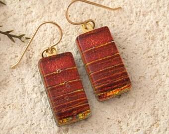 Deep Red Earrings, Dichroic, Dangle Drop Earrings, Red Earrings, Gold Filled Earrings, Dichroic Jewelry, Fused Glass Jewelry,  092916e100