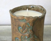 Eucalyptus Mint Organic Soy Candle in Ceramic Art Studio Pottery Cup OOAK