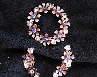 Vintage Cobalt Blue and Clear Rhinestone Jewelry Set Pin Brooch Screw Back Earrings
