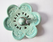 Spa Green Ring Dish, She Said Yes Ring Holder Dish, light green, Ceramic Pottery, Ready to Ship