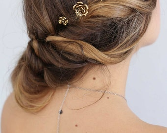 Bridal rose hair pins - Mini cast roses bobby pin set of 3 - Style 663 - Ready to Ship