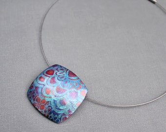 Polymer clay Statement pendant necklace Choker Abstract feminine design Flower botanical inspired jewelry Square pendant. Neck wire Metallic