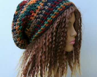 September slouchy beanie hat, snood dread tam hat, fall Hippie boho bohemian beanie hat, slouch beanie hat, snood beanie Bohemian beanie hat