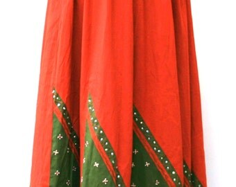 Vintage Indian Handmade maxi Skirt, beaded embroidery cotton Festival Gypsy Bohemian skirt,woman skirt large L/XL adjustable, BoHo long wide