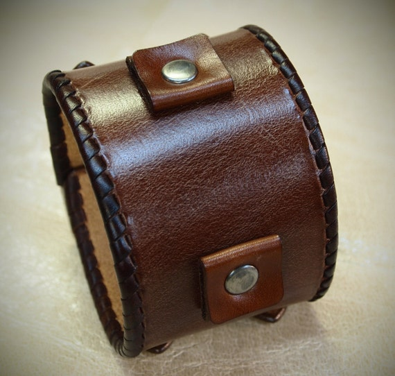 Brown Leather Cuff Bracelet Laced edges; Johnny Depp vintage style cuff watchband Best quality Made in NYC for YOU by Freddie Matara