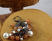 Peach Aventurine and Swarovski Crystal and Pearl Glam cascade earrings perfect for prom weddings or just everyday