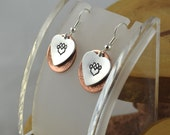 PAWS animal critter love hand stamped layered copper and aluminum mixed metal french hook earrings