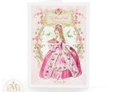 Marie Antoinette card, birthday card, pink card, Let them eat Cake, card for girlfriend, French card, Tea party card, shower tea card