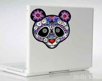 Day of the Dead Sugar Skull Flower Panda Vinyl Decal Sticker