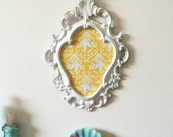 Vintage Ornate Framed Magnetic Memo Board, Inspiration Board, Yellow White