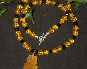 Amber Owl with Amber and Organic, Lignite Jet Witches Necklace - For Athene  - Pagan, Wicca
