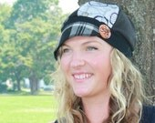 Medium large Jax Hats, black and grey plaid hat, upcycled hat, recycled clothing hat, bicycle hat, bike,  newsboy cap, flapper, houndstooth