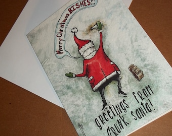 Mature Drunk Santa Cussing Christmas Card 5x7 Greeting Card Blank inside by Agorables naughty or nice