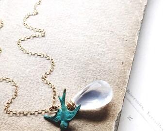 E v e r l a s t i n g...Ice quartz necklace, verdigris bird necklace, garnets, chakra, boho gold, minimalist, patina necklace FREE SHIPPING