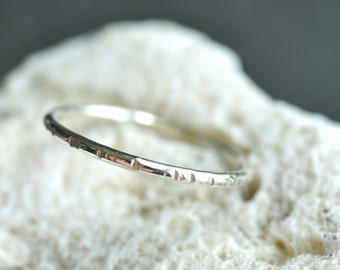 textured skinny sterling silver Stacking Rings - sold as SINGLES (1) - pick your texture