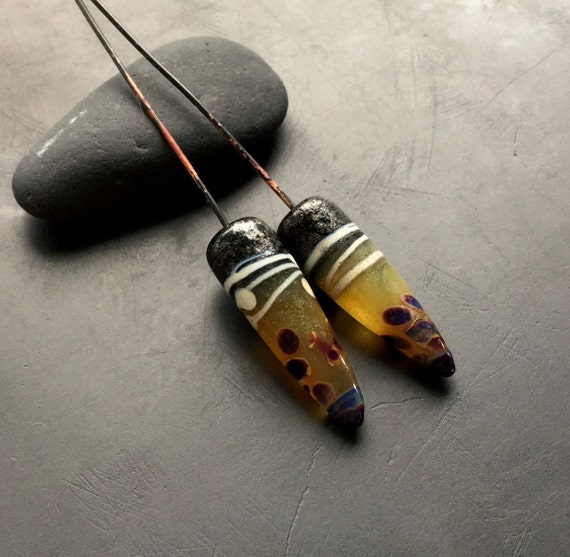 Lampwork glass bead headpins set handmade by Lori Lochner rustic tribal trade beads boho jewelry and textile design artisan supplies