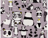 "End of BOLT 31"" Cut - Geometric Panda Bears on GREY - Face, Head, Body Black and White Panda - Animal Land - Japanese Imported"