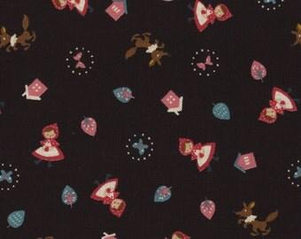 HALF YARD Kokka - Red Riding Hood - Black - 85/15 Cotton/Linen Blend - Japanese Import