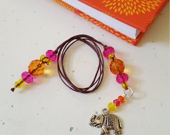 Beaded Bookmark Elephant/ Orange, Magenta Pink, Yellow/ Glass Beaded Cord With Metal Charm/ Handmade Book Thong/ Journal Marker/ Book Lover