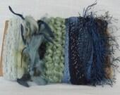 Scrap Yarn Blue Novelty Yarn Scraps Fiber Embellishments 1192