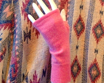 Mid Arm Length two-ply bubblegum pink cashmere fingerless gloves arm warmers boho chic texting boho mori girl mittens