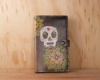 Leather Moleskine Journal Cover - Handmade Sugar Skull Journal in the Walden Pattern with Flowers - Antique Black
