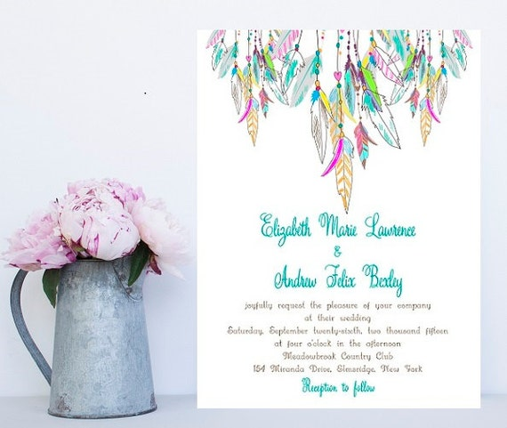 Feather Wedding Invitation - Native American, Colorful Wedding Invitation - Whimsical Wedding