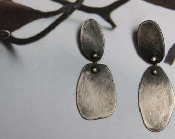 Recycled Sterling Silver Two Piece Asymmetrical Earrings II