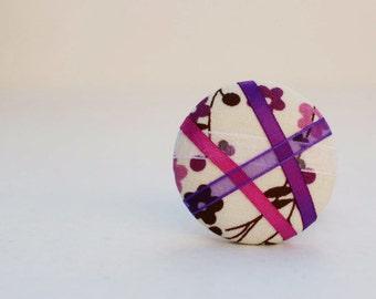 Secret Garden (Purple) - One Oversized Hair Tie - Button Ponytail Holder - Hair Candy by Gazzu