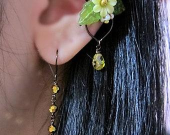 Fairy Ear Cuff, Fairy Jewelry, Fairy Earrings, Fantasy Earrings, Fairytale Jewelry, Enchanted Jewelry, Woodland Earrings, Yellow Ear Cuff