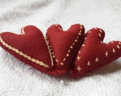 Decorative Pillows - Folk Art Felt Valentine's Day Primitive Heart Pillow Tucks or Bowl Fillers - Hand Sewn and Hand Embroidered - Christmas