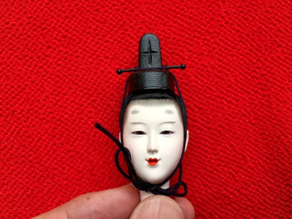 Japanese Doll Head - Hina Matsuri - Japanese Doll Festival - Boy Head - Man's Head - Vintage Doll Head D10-23