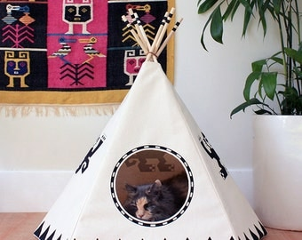 Raven Black Cat Teepee w/ bed, Cat House, Cat Bed, Cat Tipi, Pet Teepee
